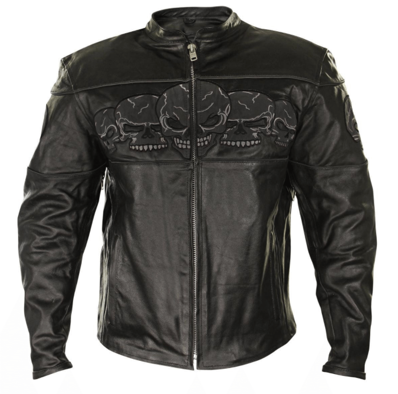 Xelement BXU6050 Mens Black Armored Leather Motorcycle Jacket
