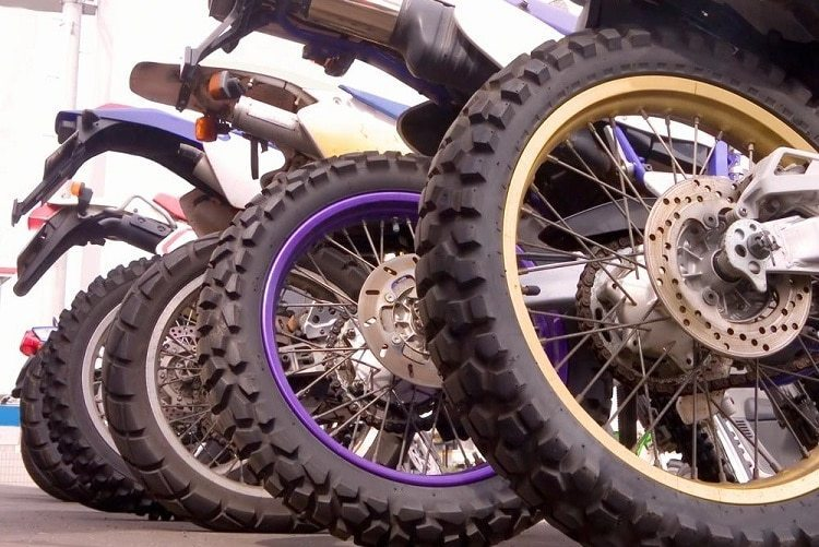 The sides of a motorcycle tire