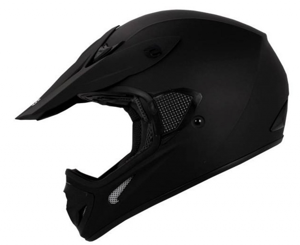 TMS Adult Flat Matte Black Motocross Dirt Bike Helmet