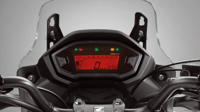 2018 Honda CB500X instrument display panel.