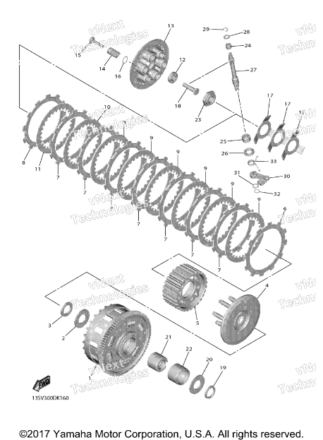 Diagram - Microfiche of a 2017 R1 Clutch