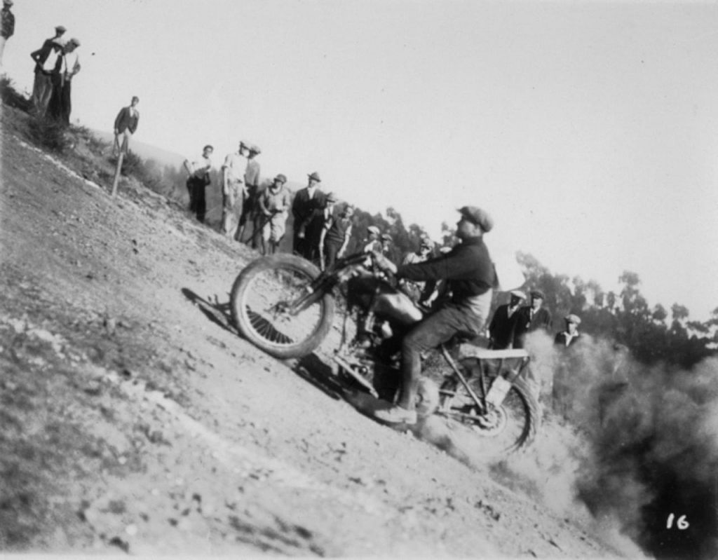 Motorcycle climbing a hill