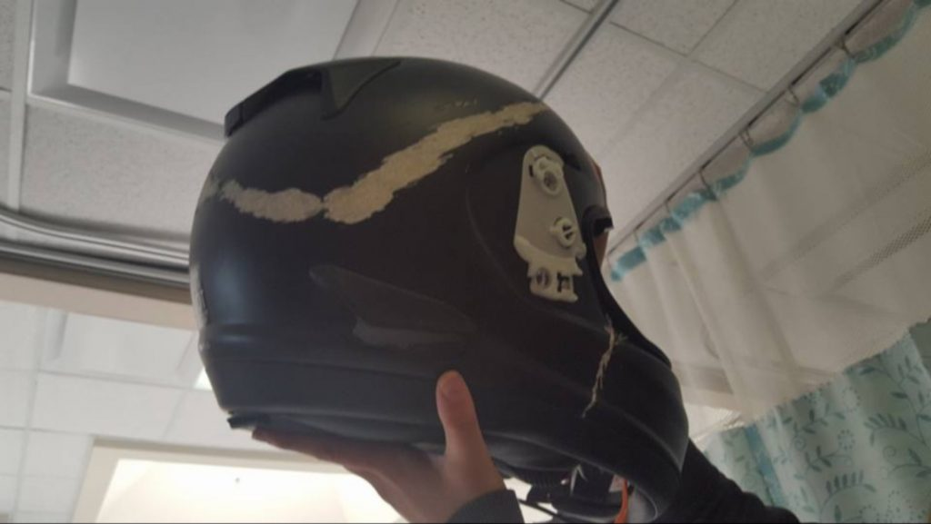 Damaged motorcycle helmet