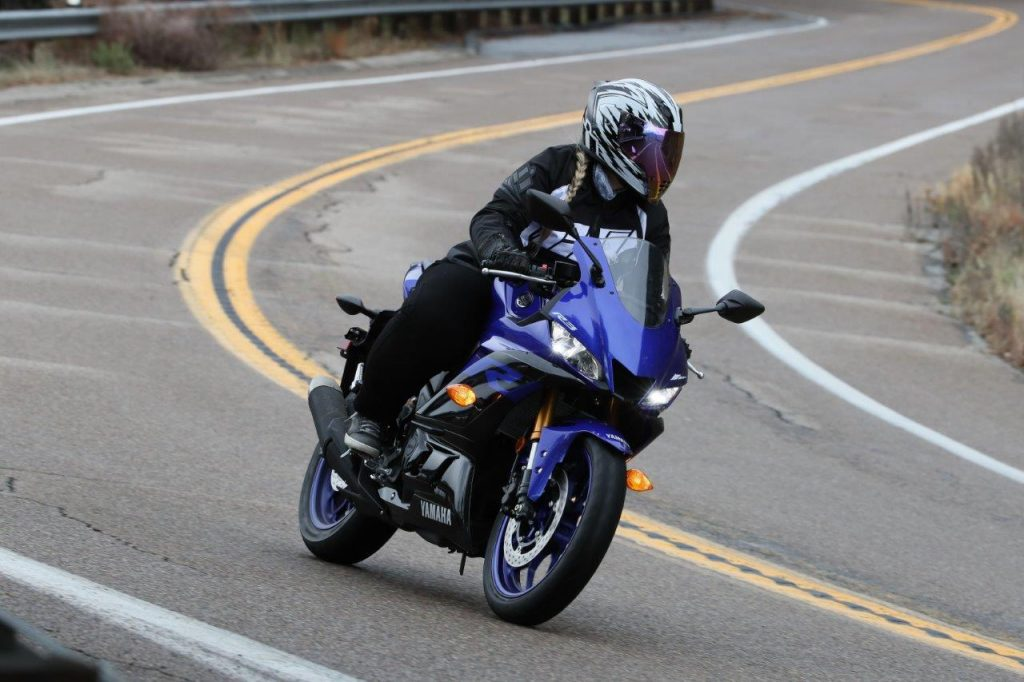 2019 Yamaha YZF-R3 on the road