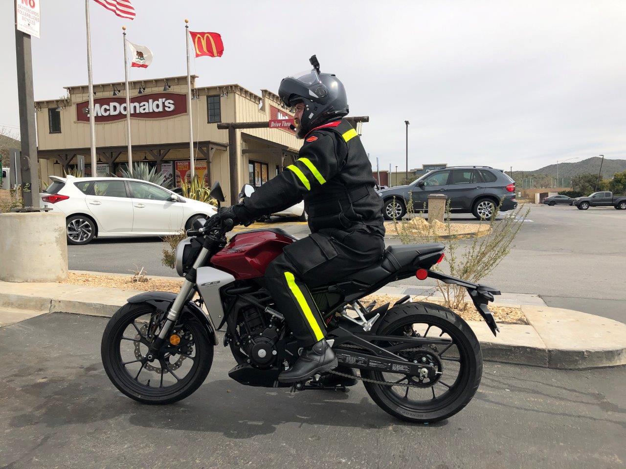 "2019 Honda CB300R with 5'7"" rider on it."