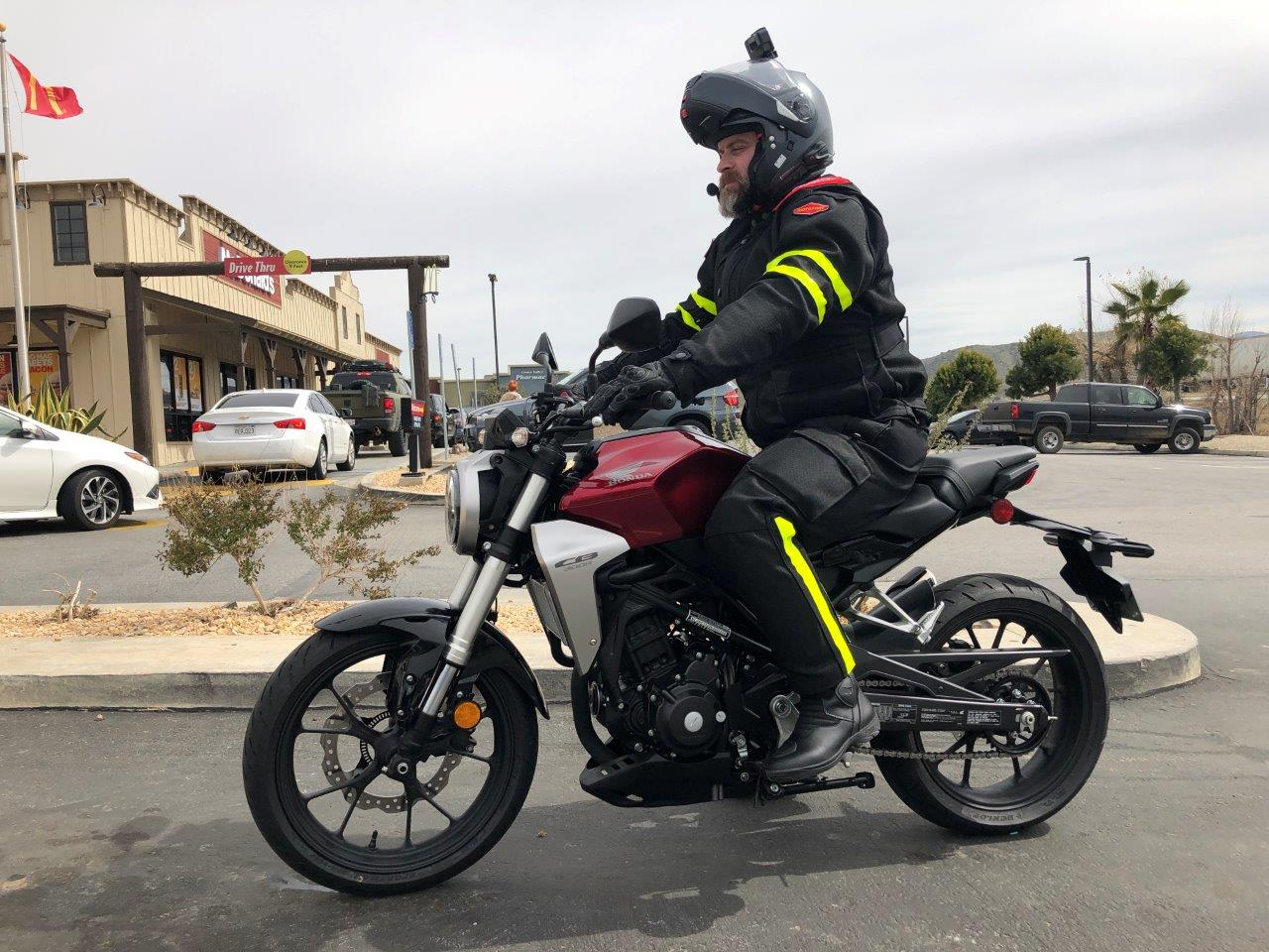 "2019 Honda CB300R with 6'2"" rider on it."