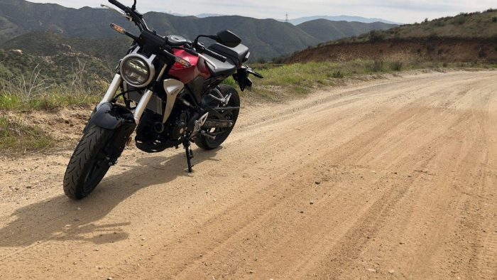 2019 Honda CB300R on dirt road.