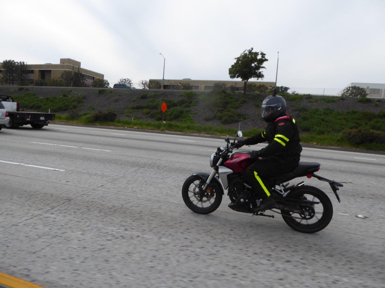 2019 Honda CB300R on the road.