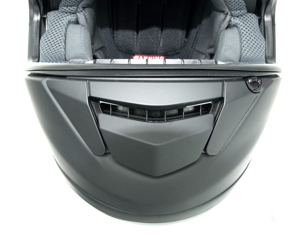 Shoei GT Air helmet chinbar vent open.