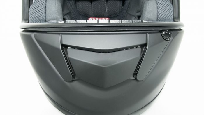 Shoei GT Air helmet chinbar vent closed.