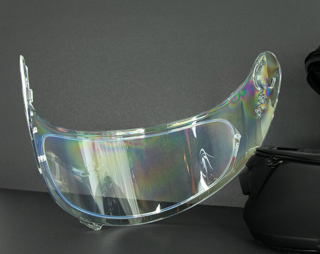Shoei GT Air helmet visor lens with Pinlock installed.