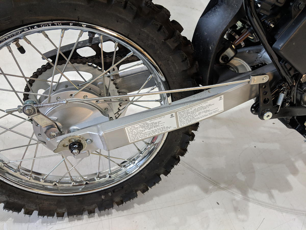 Drum brakes on a modern motorcycle