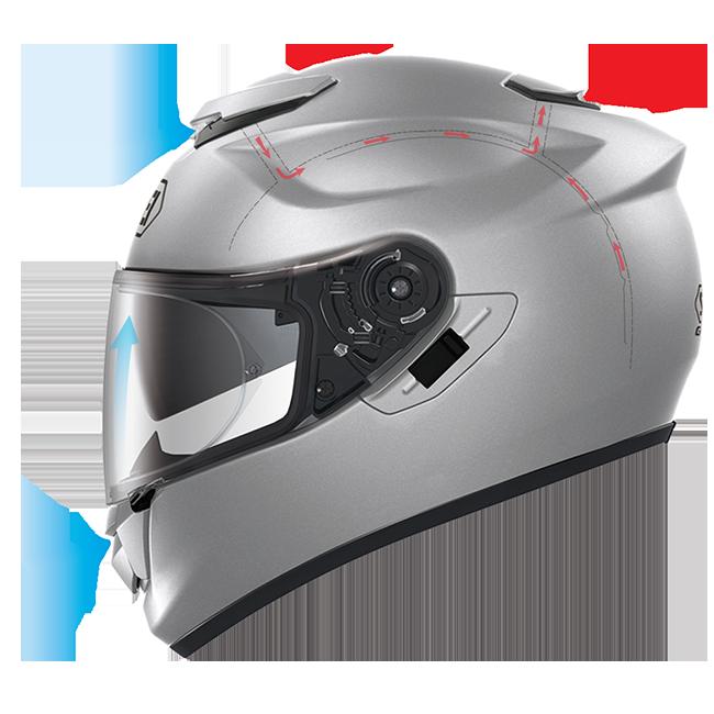 Airflow through a Shoei GT Air helmet.