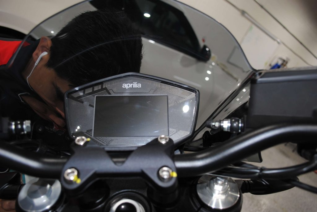 Applied protective film to motorcycle