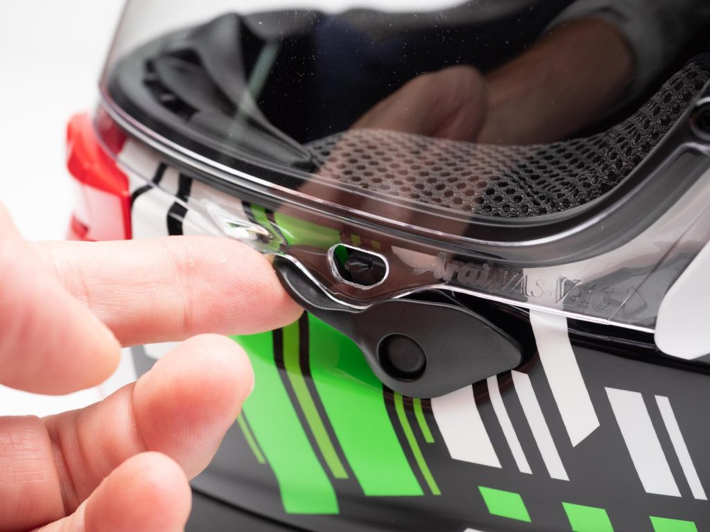 Arai Corsair-X Helmet visor release lever