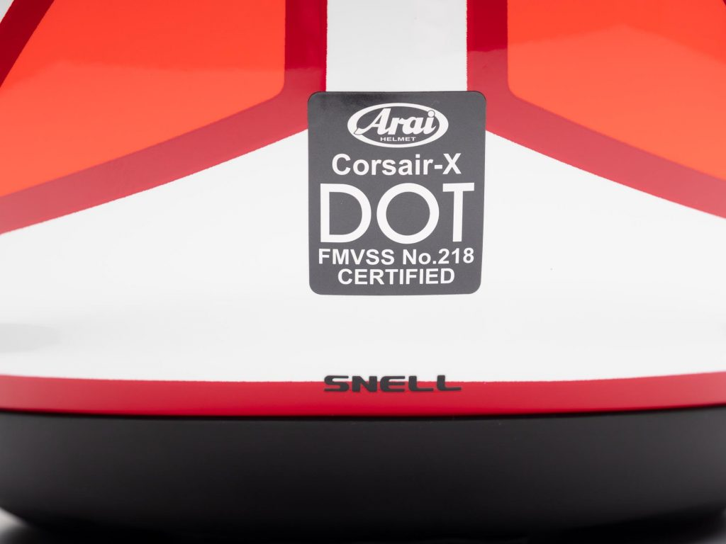 Arai Corsair-X Helmet DOT and SNELL certification sticker