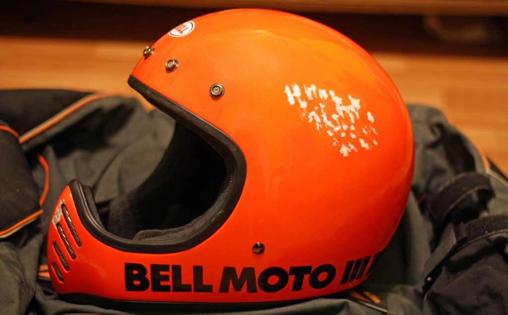 Crashed Bell helmet