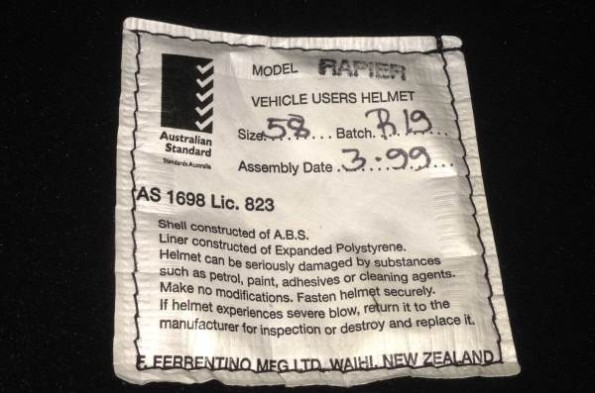 Interior sticker or label for manufacturing date and materials