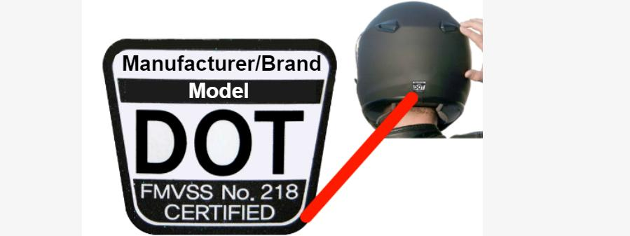 DOT or certification sticker/label placement
