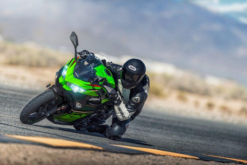 2020 Kawasaki Ninja 400 cornering on track