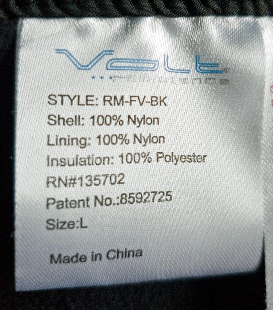 volt heat fusion heated vest manufacturing tag