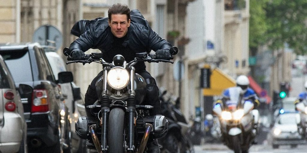 Tom Cruise riding BMW R nineT Scrambler