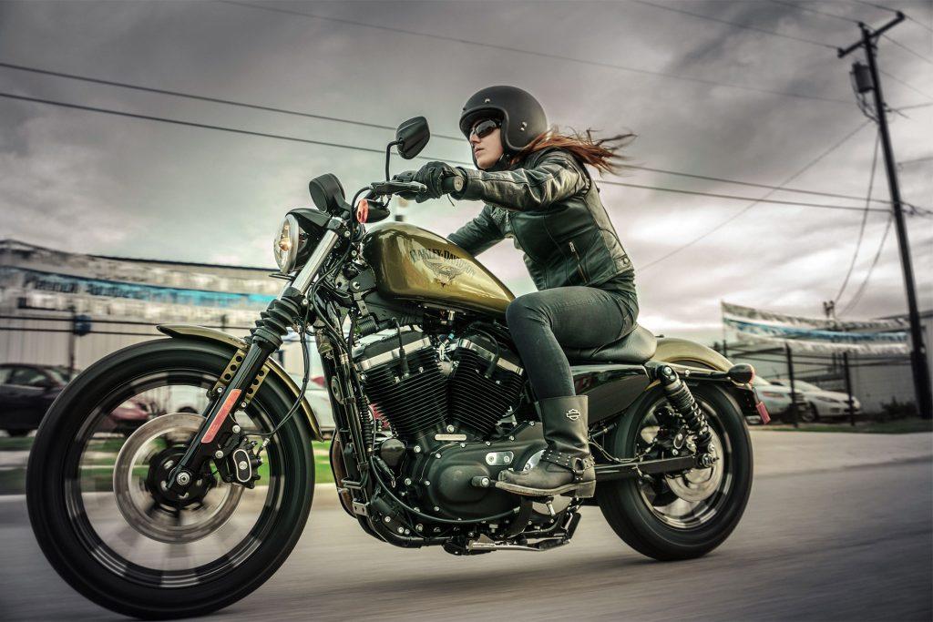 Woman Riding A Harley Davidson Iron 883