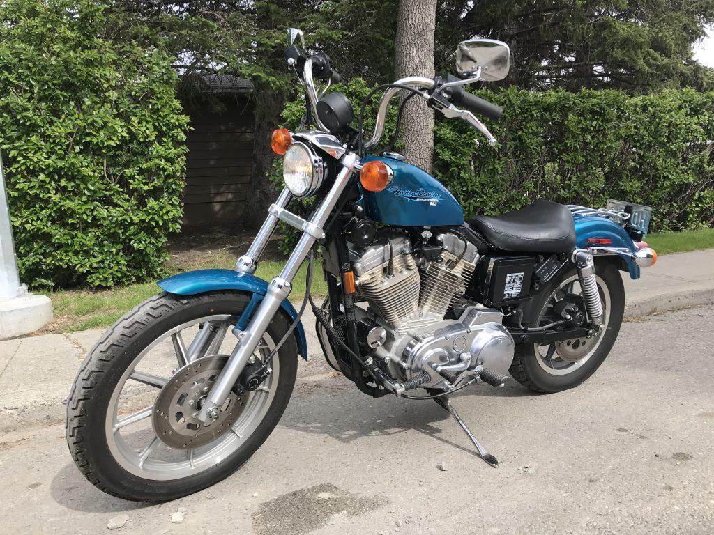 1995 Harley Davidson Sportster 883 Hugger (XLH883 Hugger) On Its Side Stand